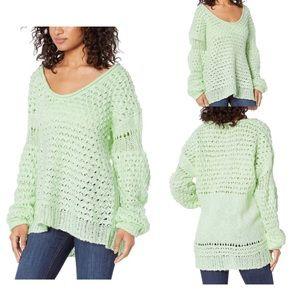 Free People Crashing Waves Sweater Mint Large